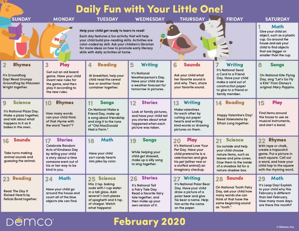 Feb activity calendar image