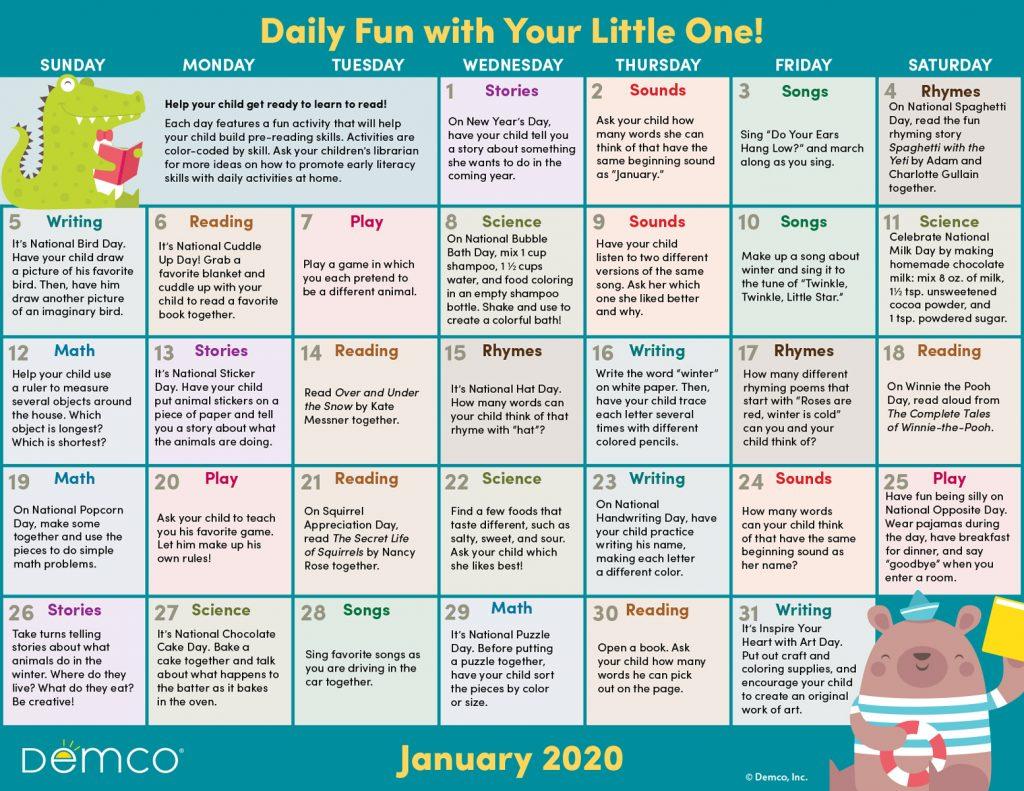 Jan activity calendar image