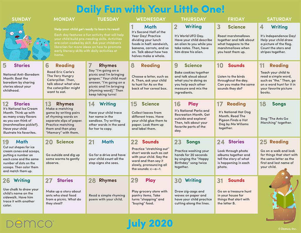 Jul activity calendar image