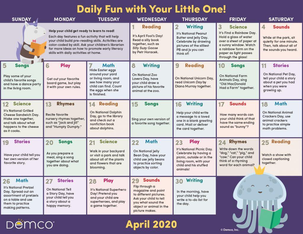 april activity calendar image