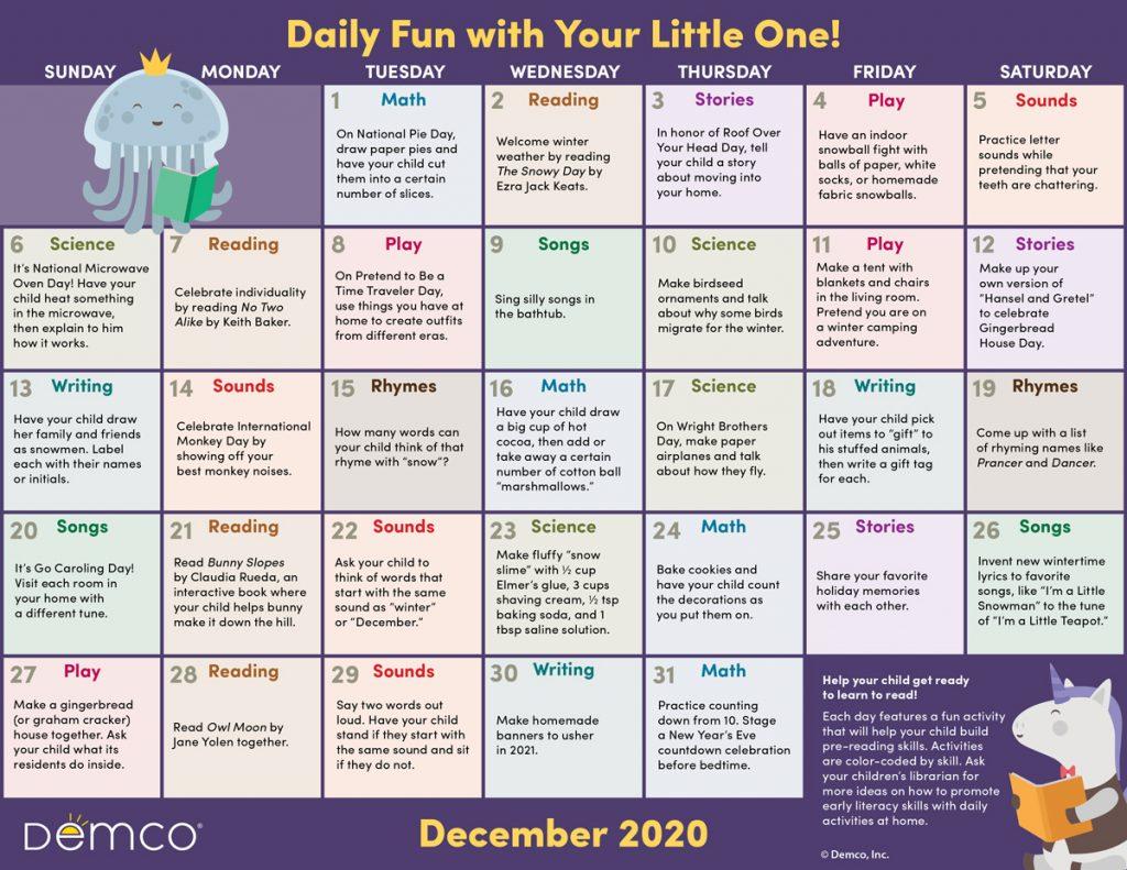 dec activity calendar image