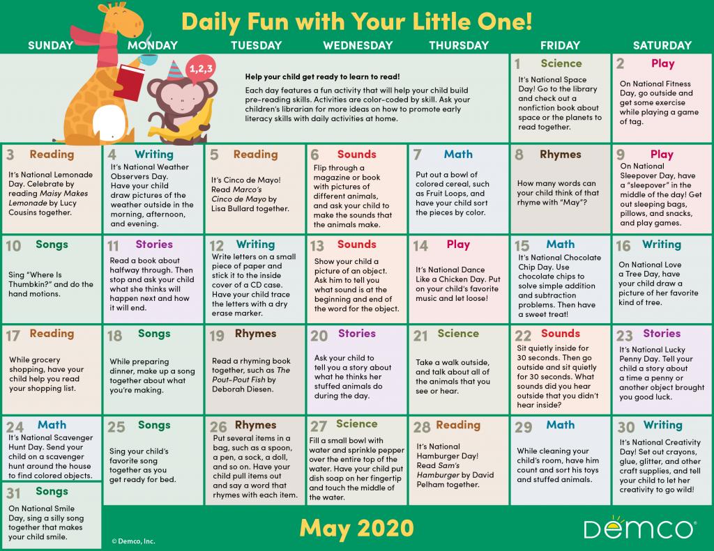 may activity calendar image