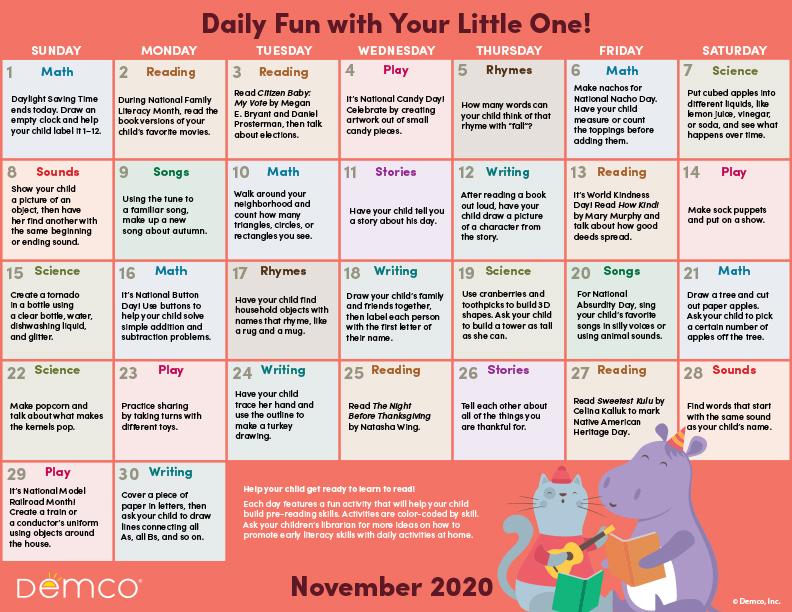 nov activity calendar image