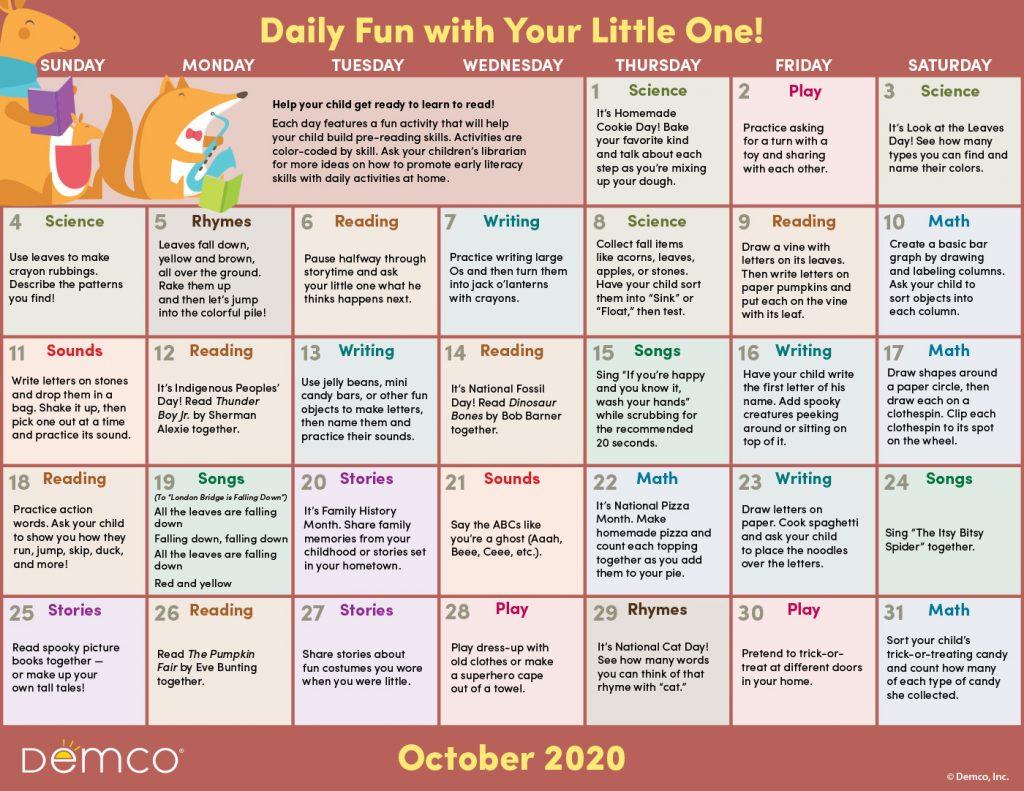 oct activity calendar image